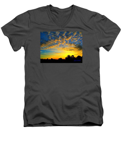 Men's V-Neck T-Shirt featuring the digital art Perfect Sunset by Mark Blauhoefer