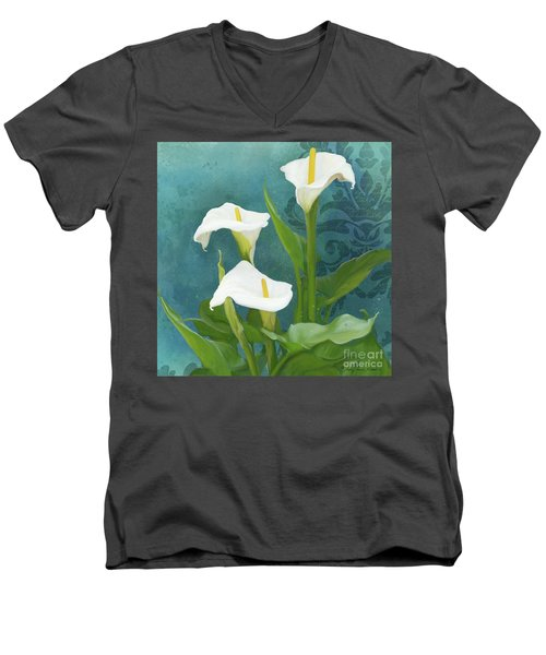 Men's V-Neck T-Shirt featuring the painting Perfection - Calla Lily Trio by Audrey Jeanne Roberts