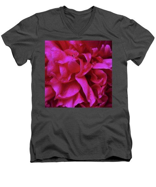 Perfectly Pink Peony Petals Men's V-Neck T-Shirt