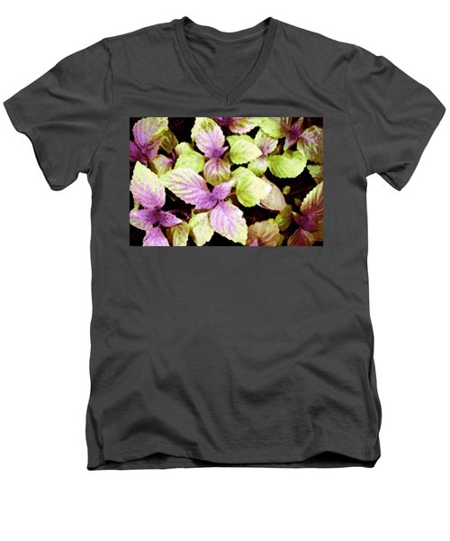Men's V-Neck T-Shirt featuring the digital art Perilla Beauty by Winsome Gunning