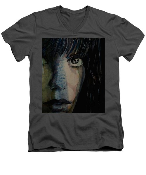 Men's V-Neck T-Shirt featuring the painting Periode Bleue by Paul Lovering