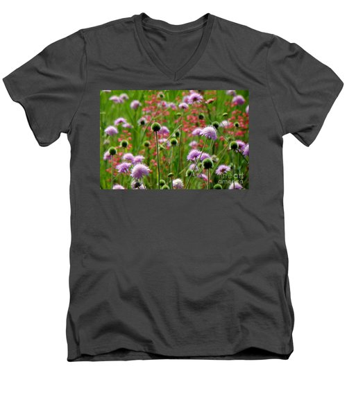 Perky Chives Men's V-Neck T-Shirt by Betsy Zimmerli