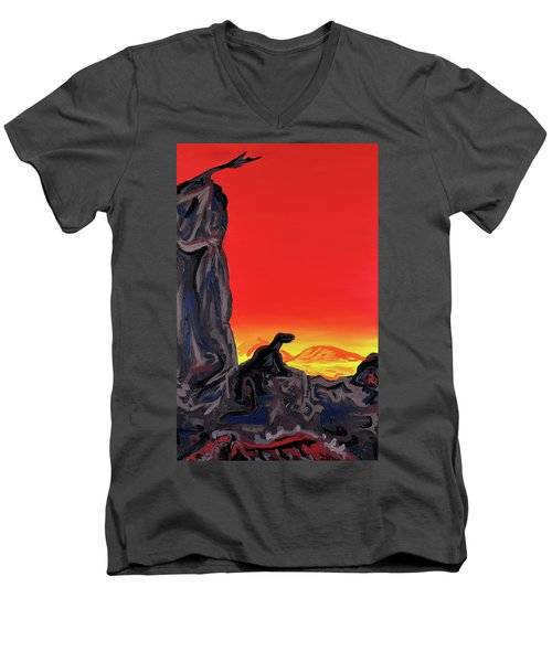 Permian Outpost Men's V-Neck T-Shirt by Ryan Demaree