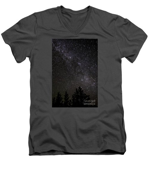 Perseid Meteor And Milky Way Men's V-Neck T-Shirt