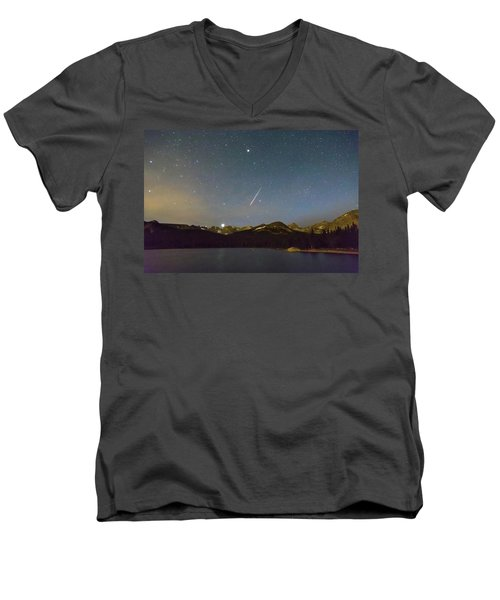 Men's V-Neck T-Shirt featuring the photograph Perseid Meteor Shower Indian Peaks by James BO Insogna