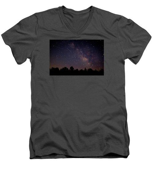 Perseid Meteor Shower Men's V-Neck T-Shirt by Jean Haynes