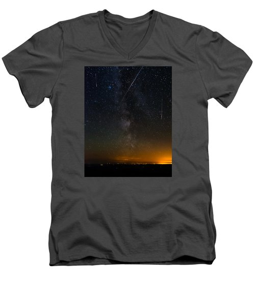 Perseids Meteor Shower Men's V-Neck T-Shirt
