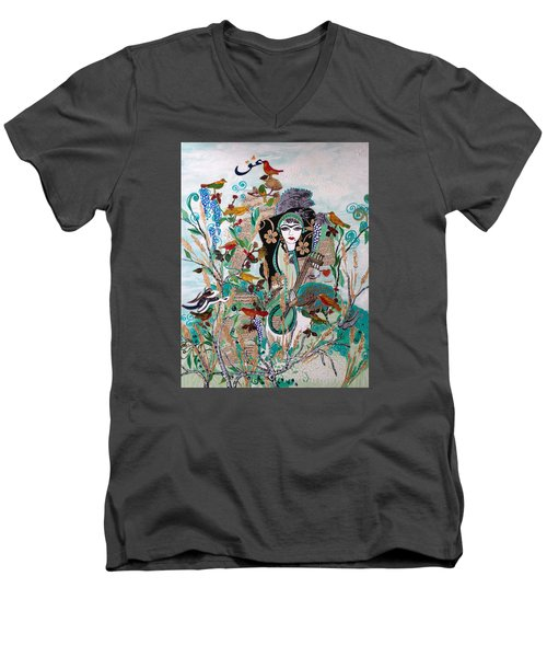 Persian Painting # 2 Men's V-Neck T-Shirt by Sima Amid Wewetzer