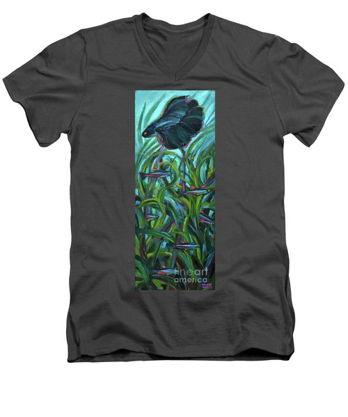 Men's V-Neck T-Shirt featuring the painting Persistent Fish Betta  by Robert Phelps