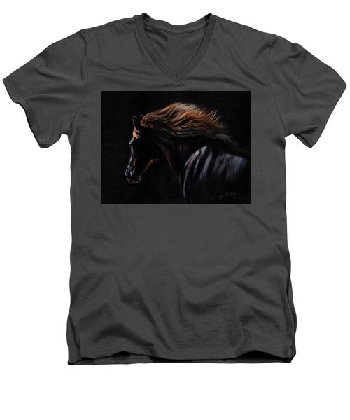 Men's V-Neck T-Shirt featuring the painting Peruvian Paso Horse by David Stribbling