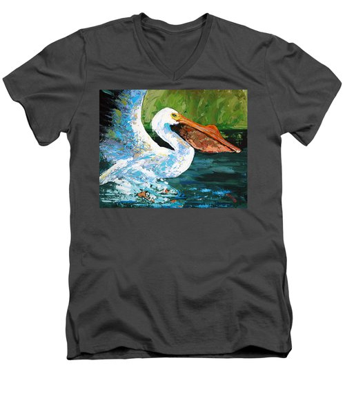 Men's V-Neck T-Shirt featuring the painting Pete Coming In For A Landing by Suzanne McKee