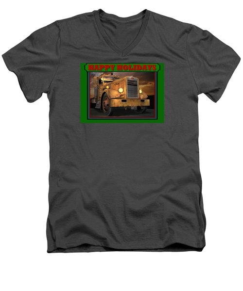 Men's V-Neck T-Shirt featuring the digital art Pete Ol' Yeller Happy Holidays by Stuart Swartz