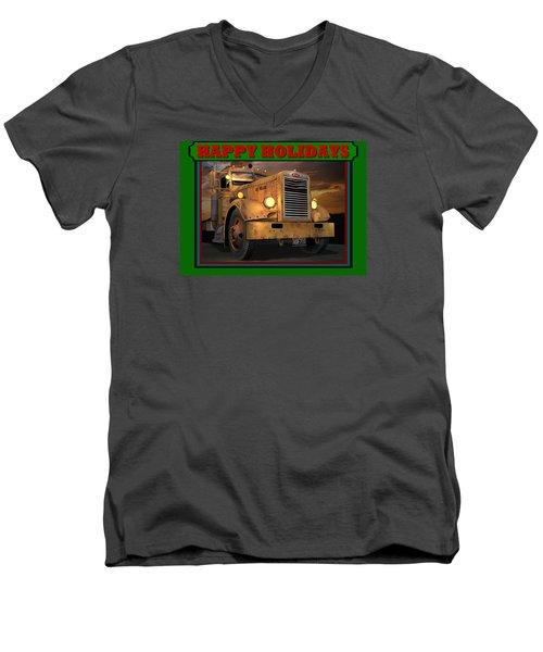 Pete Ol' Yeller Happy Holidays Men's V-Neck T-Shirt by Stuart Swartz