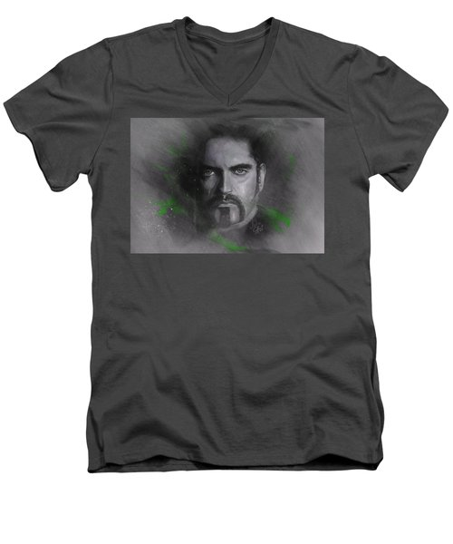 Men's V-Neck T-Shirt featuring the drawing Peter Steele, Type O Negative by Julia Art