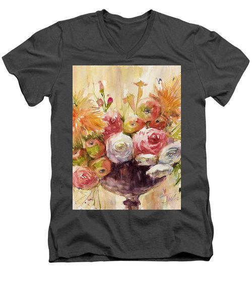Petite Apples In Floral Men's V-Neck T-Shirt