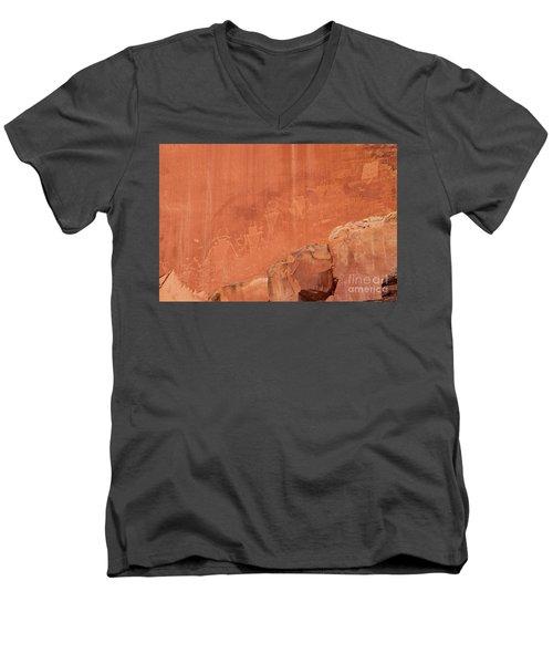 Petroglyphs In Capital Reef Men's V-Neck T-Shirt