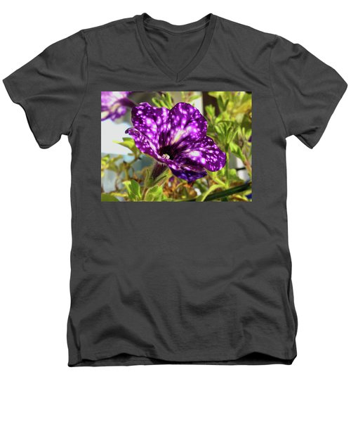 petunia nightsky,Helloween colors  Men's V-Neck T-Shirt by Tamara Sushko