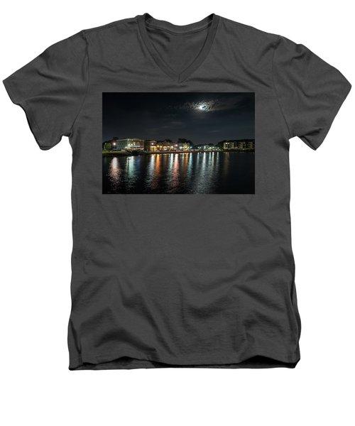 Pewaukee At Night Men's V-Neck T-Shirt by Randy Scherkenbach