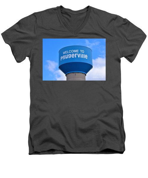 Pflugerville Texas - Water Tower Men's V-Neck T-Shirt by Ray Shrewsberry