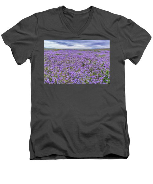 Men's V-Neck T-Shirt featuring the photograph Phacelia Field And Clouds by Marc Crumpler