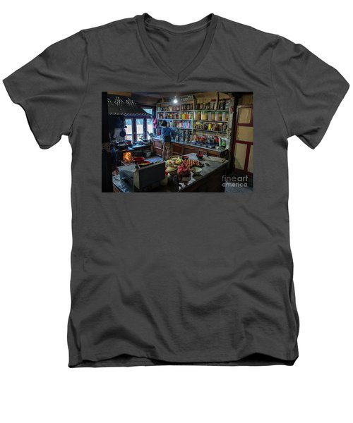 Men's V-Neck T-Shirt featuring the photograph Phakding Teahouse Kitchen Morning by Mike Reid