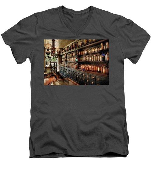 Pharmacy - So Many Drawers And Bottles Men's V-Neck T-Shirt