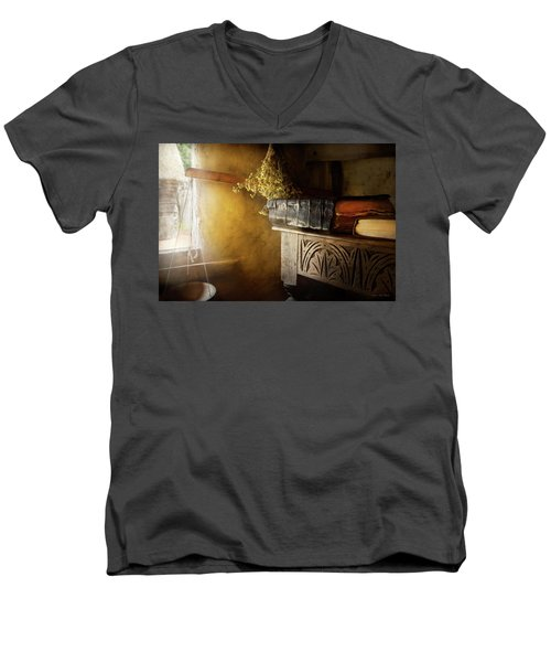 Men's V-Neck T-Shirt featuring the photograph Pharmacy - The Apothecarian by Mike Savad