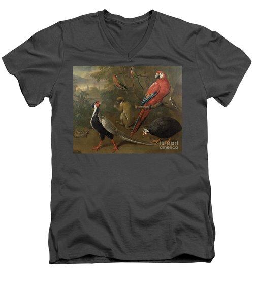 Pheasant Macaw Monkey Parrots And Tortoise  Men's V-Neck T-Shirt