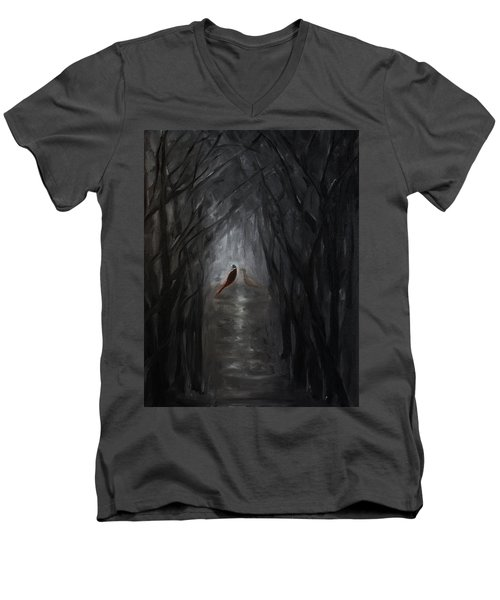 Men's V-Neck T-Shirt featuring the painting Pheasants In The Garden by Tone Aanderaa