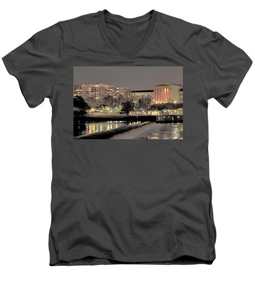 Philadelphia Art Museum In Pastel Men's V-Neck T-Shirt
