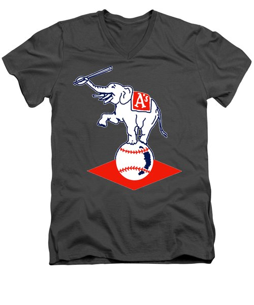 Philadelphia Athletics Retro Logo Men's V-Neck T-Shirt by Spencer McKain