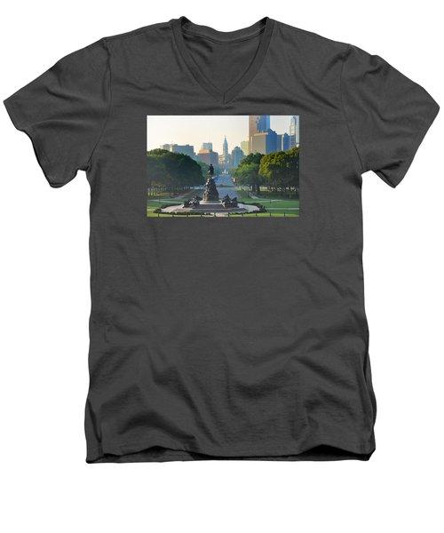 Philadelphia Benjamin Franklin Parkway Men's V-Neck T-Shirt
