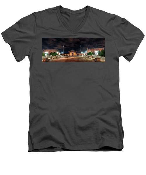 Men's V-Neck T-Shirt featuring the photograph Philadelphia Museum Of Art by Marvin Spates