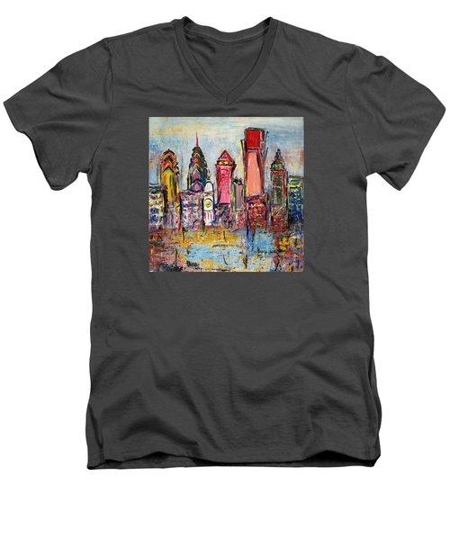 Philadelphia Skyline 232 1 Men's V-Neck T-Shirt by Mawra Tahreem