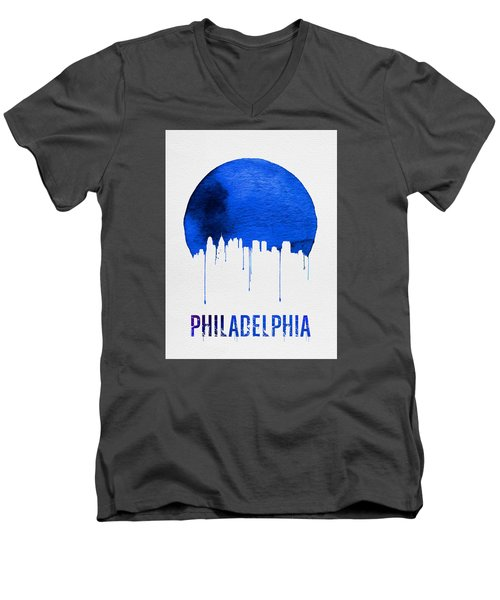 Philadelphia Skyline Blue Men's V-Neck T-Shirt by Naxart Studio