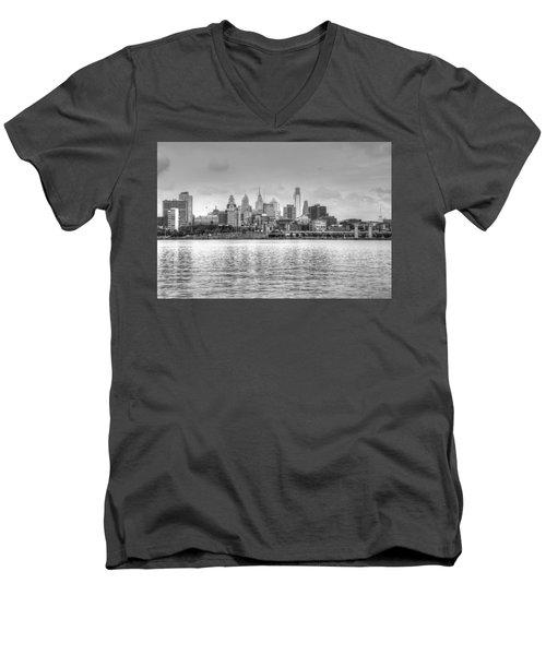 Men's V-Neck T-Shirt featuring the photograph Philadelphia Skyline In Black And White by Jennifer Ancker