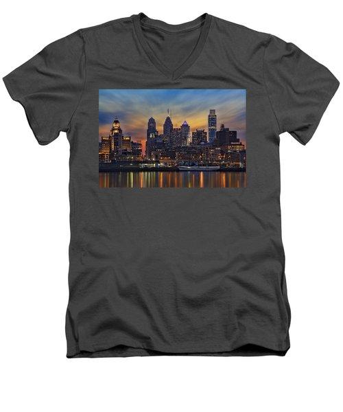 Philadelphia Skyline Men's V-Neck T-Shirt