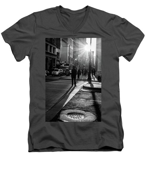 Philadelphia Street Photography - 0943 Men's V-Neck T-Shirt by David Sutton
