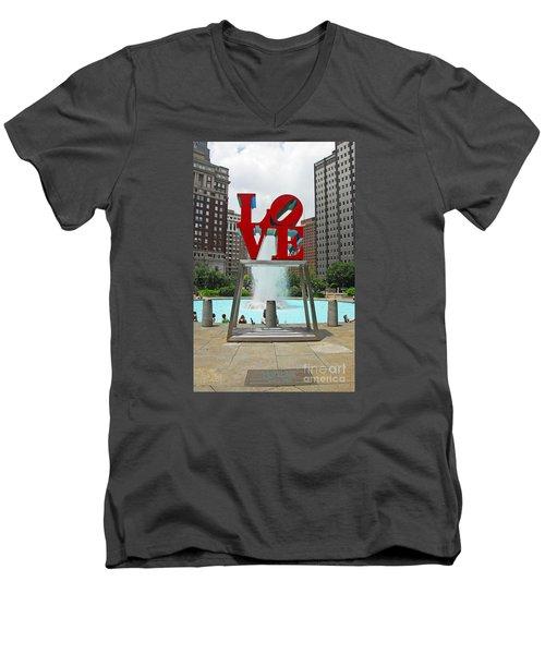 Philadelphia's Love Park Men's V-Neck T-Shirt