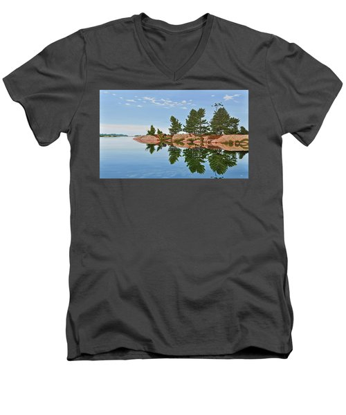 Men's V-Neck T-Shirt featuring the painting Philip Edward Island by Kenneth M Kirsch