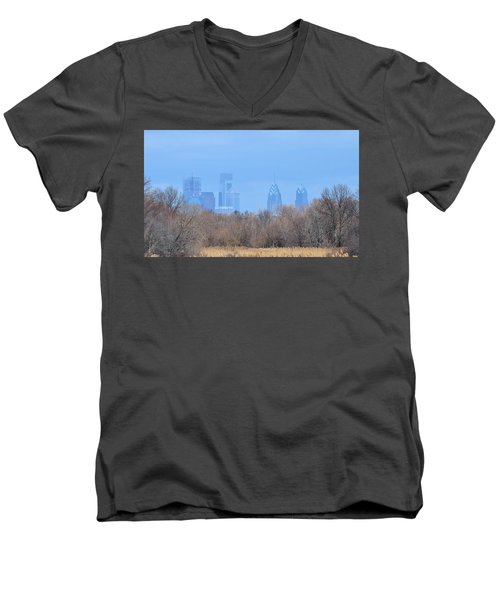 Philly From Afar Men's V-Neck T-Shirt by Kathy Eickenberg