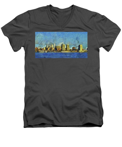 Men's V-Neck T-Shirt featuring the mixed media Philly Skyline by Trish Tritz