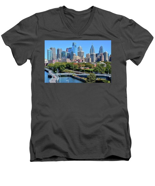 Men's V-Neck T-Shirt featuring the photograph Philly With Walking Trail by Frozen in Time Fine Art Photography