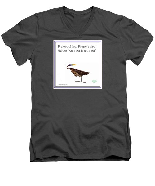 Philosophical Bird Men's V-Neck T-Shirt by Graham Harrop
