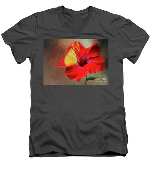Phoebis Philea On A Hibiscus Men's V-Neck T-Shirt by Eva Lechner