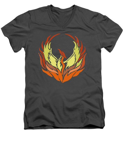 Phoenix Bird Men's V-Neck T-Shirt by Priscilla Wolfe