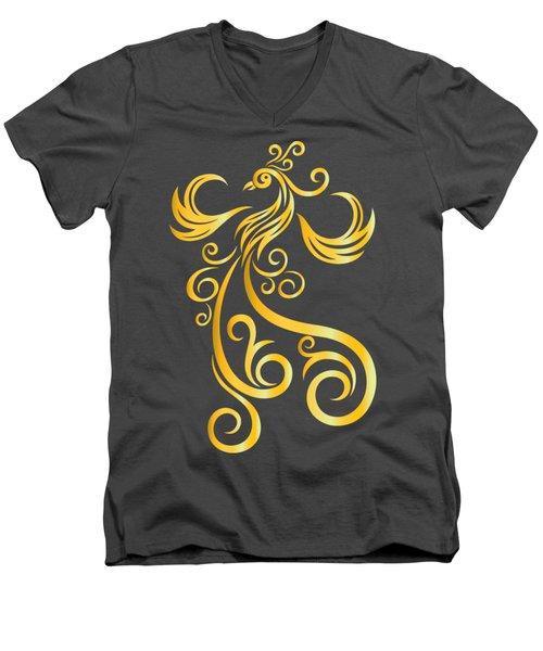 Phoenix Men's V-Neck T-Shirt by Martinus Sumbaji
