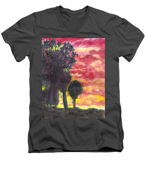 Phoenix Sunset Men's V-Neck T-Shirt by Eric Samuelson