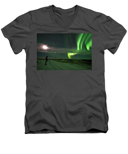 Men's V-Neck T-Shirt featuring the photograph Photographer Under The Northern Light by Dubi Roman