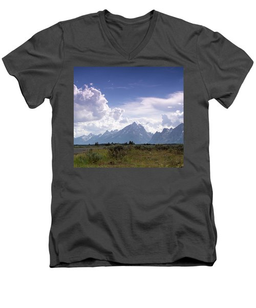 Men's V-Neck T-Shirt featuring the photograph Photographing The Tetons by Dawn Romine